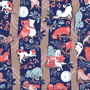 Cats forest // normal scale // blue background brown trees grey white and orange kitties