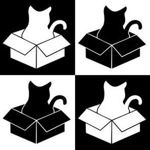 Cat in a Box Silhouette - Black & White Check