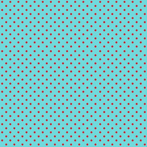 Red Polka Dots On Aqua