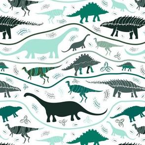 Dino Strata: Greens on white