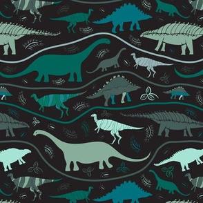 Dino Strata: Greens on Black  (medium scale)