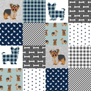 yorkie pet quilt  fabric - dog cheater quilt, yorkshire terrier quilt - blue dog