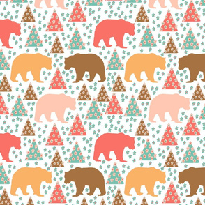 Living coral scene with bears