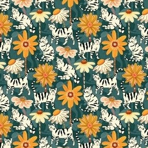 Daisy Cats - Teal  (Small Version)