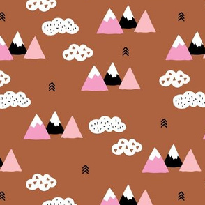 Girls fuji mountain geometric climbing girls landscape with soft pastel colors copper rusty brown pink fall  white clouds