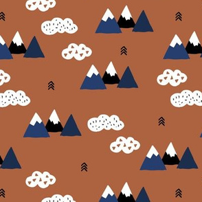 Fuji mountain geometric climbing lovers landscape winter blue copper rusty brown and white clouds