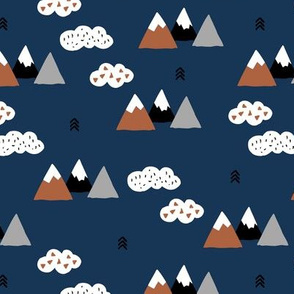 Fuji mountain geometric climbing lovers landscape winter navy blue copper gray and white clouds