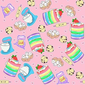 Kawaii baking on pink