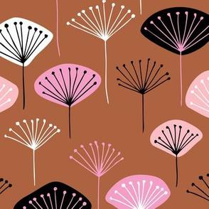 Little Dandelion poppy flowers japanese inspired blossom fall  pink rusty copper
