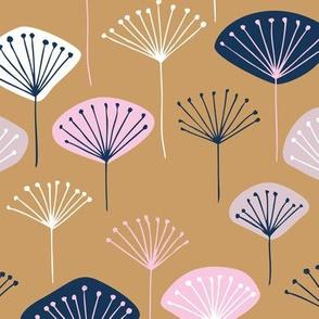 Little Dandelion poppy flowers japanese inspired blossom fall soft beige pink navy blue copper