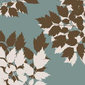 Autumn Leaves Olive Blue