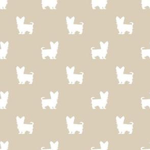 yorkie silhouette fabric -  yorkshire terrier silhouette fabric , dog fabric, dog silhouette fabric -sand