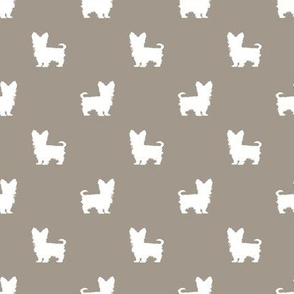yorkie silhouette fabric -  yorkshire terrier silhouette fabric , dog fabric, dog silhouette fabric -med brown