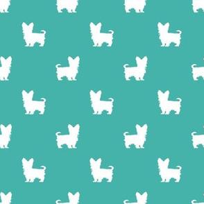 yorkie silhouette fabric -  yorkshire terrier silhouette fabric , dog fabric, dog silhouette fabric - turquoise
