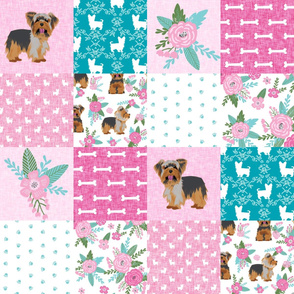 yorkie quilt fabric - cheater quilt fabric, patchwork fabric, yorkshire terrier quilt - pink and turquoise floral