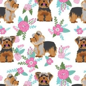 yorkie dog floral fabric - yorkshire terrier fabric, yorkie dog fabric, pink and blue
