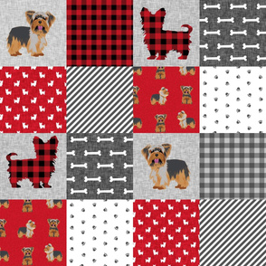 yorkie quilt fabric - cheater quilt fabric, patchwork fabric, yorkshire terrier quilt -  red plaid