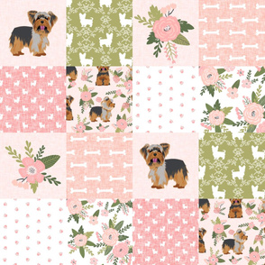 yorkie quilt fabric - cheater quilt fabric, patchwork fabric, yorkshire terrier quilt - peach floral
