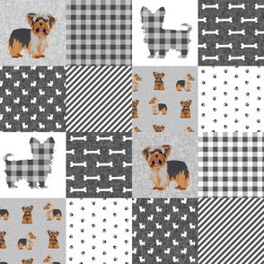 yorkie quilt fabric - cheater quilt fabric, patchwork fabric, yorkshire terrier quilt -  grey plaid