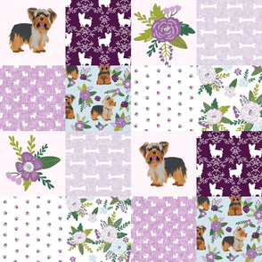 yorkie quilt fabric - cheater quilt fabric, patchwork fabric, yorkshire terrier quilt - purple