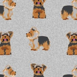 yorkie dog fabric - grey dog fabric, quilt e