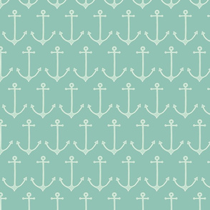 Anchors in sea green by Pippa Shaw