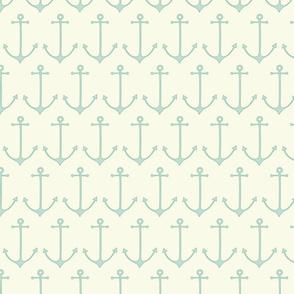 Anchors in sea foam by Pippa Shaw