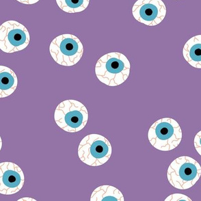 Curious eyeball bloody eye ball halloween spooky funny design purple lilac blue orange
