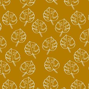 Modern Boho Mustard Monstera Leaves -Medium