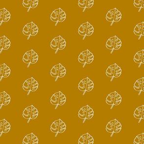 Modern Boho Mustard Monstera Leaves -Small