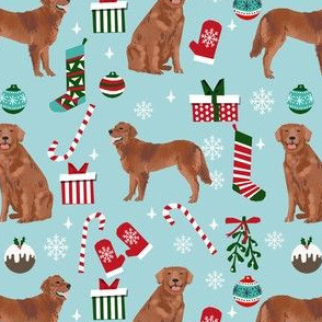 golden retriever christmas fabric - red golden retriever fabric, dog fabric, dog christmas, dog design -  blue