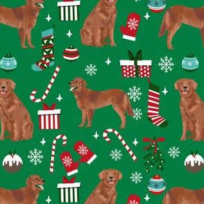 golden retriever christmas fabric - red golden retriever fabric, dog fabric, dog christmas, dog design - green