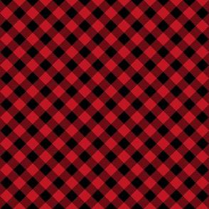 """buffalo plaid - diagonal print - plaid check fabric, check fabric, buffalo plaid, red and black - 1/2"""" squares"""