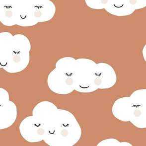 Sweet puffy clouds kawaii sky smiling sleepy cloud in fall brown white