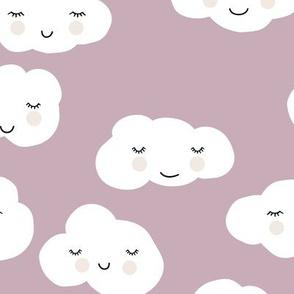 Sweet puffy clouds kawaii sky smiling sleepy cloud in fall lilac mauve white