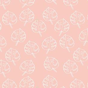 Modern Boho Blush Monstera Leaves -Medium