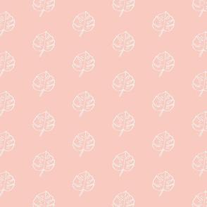 Modern Boho Blush Monstera Leaves -Small