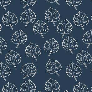 Modern Boho Blue Monstera Leaves -Medium
