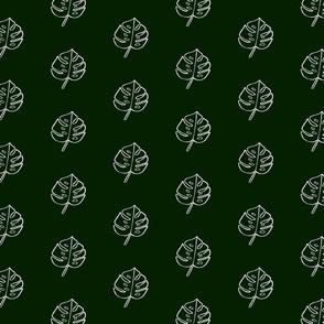 Modern Boho Dark Green Monstera Leaves -Small