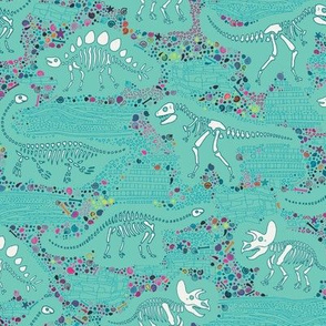 Dinosaur Fossils - White on Aqua - Medium