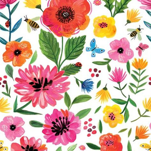Rainbow florals - fabric