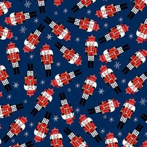 nutcracker christmas fabric - tossed, holiday fabric, nutcracker fabric - navy