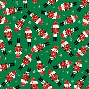 nutcracker christmas fabric - tossed, holiday fabric, nutcracker fabric -green