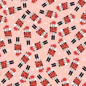nutcracker christmas fabric - tossed, holiday fabric, nutcracker fabric - pink