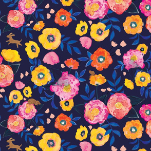 Doggy Floral Navy