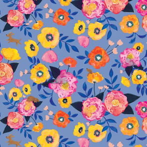 Doggy Floral Periwinkle
