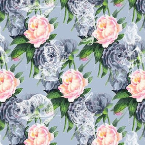 Alice in Wonderland Blue and Pink Vintage Roses