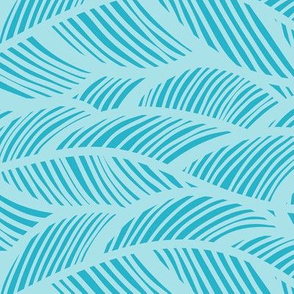 Waves Ocean Nautical Sea Shore Wave, Tropical Leaves Waves - Teal