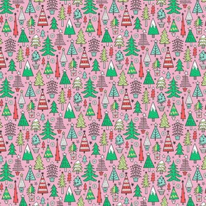 Christmas Trees Doodle Forest Woodland Red on Pink Tiny Small 1 inch