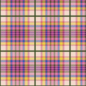 Tartan #35 - candy pink, blush, olive, sunshine